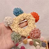 XINGSd Simple Women Hair Ball Pom Band Elastic Rope Ring Hairband Hair Band Tie Ponytail Holder(None YW)
