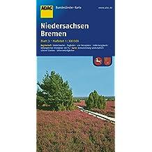 ADAC Bundesländerkarte Niedersachsen, Bremen 1:300.000 (ADAC BundesländerKarten Deutschland)