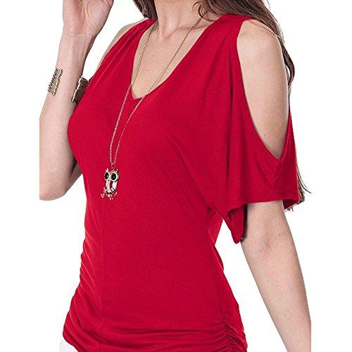 24abe2e33a6e ... Demarkt Damen Bluse Shirt Tops Sommer Schulterfrei V Ausschnitte  unregelmäßig Baumwollmischung Rot XL Rot x L ...
