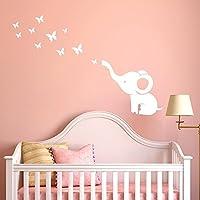 JiaMeng Pegatina de Pared, DIY Elefante Mariposa Pegatinas de Pared calcomanías habitación de los niños