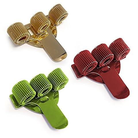 Triple en métal Pen Holder avec clip de poche–Idéal pour médecins/infirmières/pilotes–[lot de 3]–Rouge, Doré et