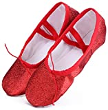 Ballettschuhe Mädchen Ballettschläppchen Ballett Schläppchen Kinder Gymnastikschuhe Damen Ballerina Tanzschuhe mit Geteilte Sohle Rot Gr.26