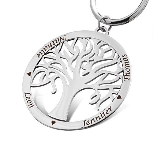 Juwelier Schönschmied- Ein Schlüsselanhänger mit persönlicher Wunschgravur - Stammbaum mit Kette Edelstahl SA23