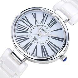 LONGBO Womens Luxury Ceramic Band Business Bangle Watch Silver Case Roman Numral Bracelet Wrist Dress Watches Fashion Waterproof Lady Analog Quartz Luminous Hand Big Face Watches