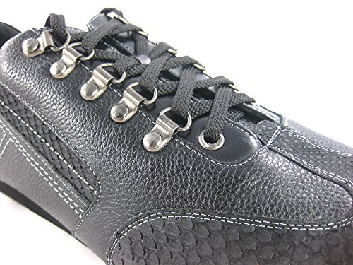 Franco Cuadra Calf and Python Leather Shoes for Men Sanded Negro