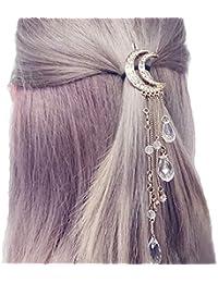 b1ede8a5b5 Ziory Golden Moon Shaped Rhinestone Crystal Tassel Long Chain Beads Dangle Hairpin  Hair Clip Hair Jewelry
