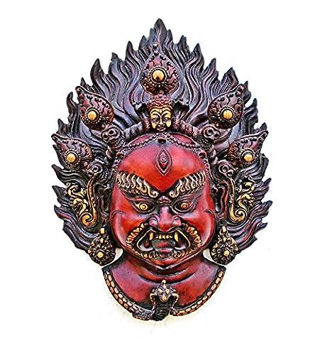 Mahakala Maske Wandbehang, Tibet Bhairav Shiva, Skulptur, Statue Buddhismus-Old Kopf,