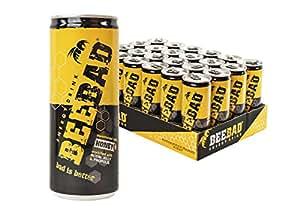BEEBAD® Energy Drink - prodotto made in ITALY dal gusto buono e fresco - dolcificato solo con Miele a base di ingredienti naturali (cartone da 24 lattine da 250ml)