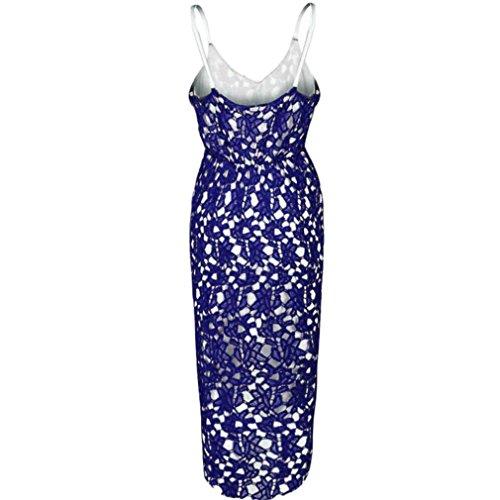 Robe Femmes,Fulltime®Floral dentelle col en v sans manches Cocktail Swing formelle robe irrégulière féminin Bleu