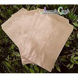100 pezzi Sacchetti carta kraft, confettata, 10×16 centimetri, avana, bustine carta, sacchetti carta confetti, confettata, sacchettini kraft