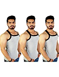 ZIMFIT Men's Cotton Casual Gym Vest Pack of 3 - (Grey_Grey_Grey)