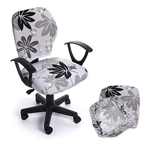 Btsky, coprisedia elasticizzato rimovibile, in stile semplice e moderno, per sedie da ufficio girevoli con braccioli (sedia non inclusa) grey maple leaf