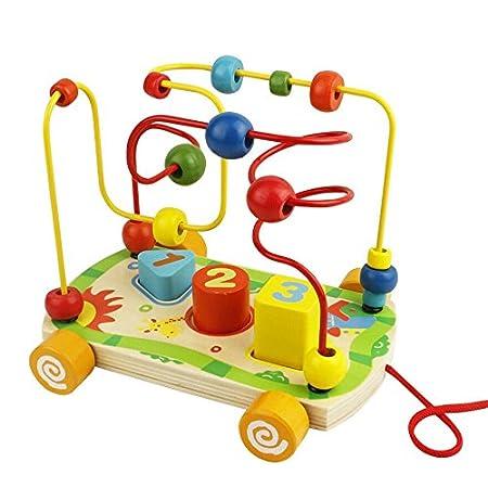 Motorikwürfel Motorikschleife Holzspielzeug mit 2 Farbspuren Motorikspielzeug Labyrinth Abakus Bead Maze Pädagogisches…