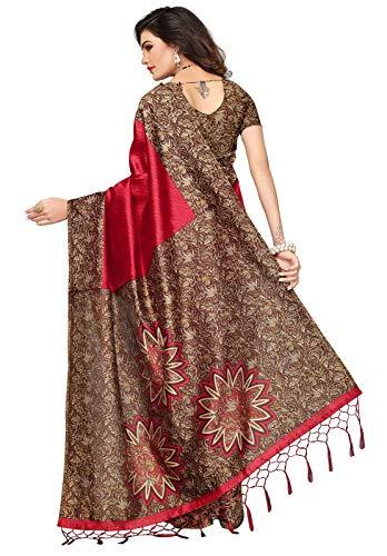 55eb571ddea 46% OFF on Ishin Poly Silk Red Printed Women s Saree With Tassels on Amazon