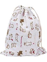Laat - Bolsa de almacenaje multiusos,tela, bolsa reutilizable con cordón y etiqueta ecológica europea, bolsa de cincha, gran capacidad, diseño de gatitos