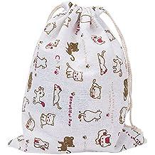 Laat almacenamiento multi-fonctionnels bolsa en lienzo–Bolsa reutilizable para cordón a la écolabel bolsa de Cinch gran capacidad–Chat Mignon, algodón, gato mono, 32x25cm