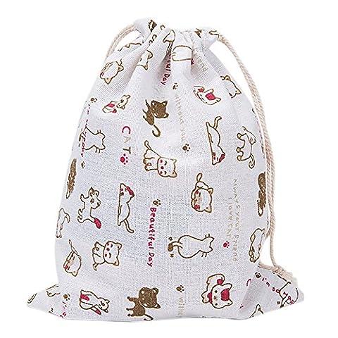 Westeng Cordon de serrage Sacs en coton et lin Sacs Pouch Cadeau Sacs Chaussettes Sous-vêtements Sac de rangement Motif chat mignon Blanc M-19*24cm blanc