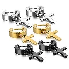 Idea Regalo - oidea 3coppie (6pcs) orecchini da uomo donna, Charm Croce Crocifisso Orecchini fatti a mano orecchini orecchini a cerchio, acciaio inossidabile, Oro Nero Argento