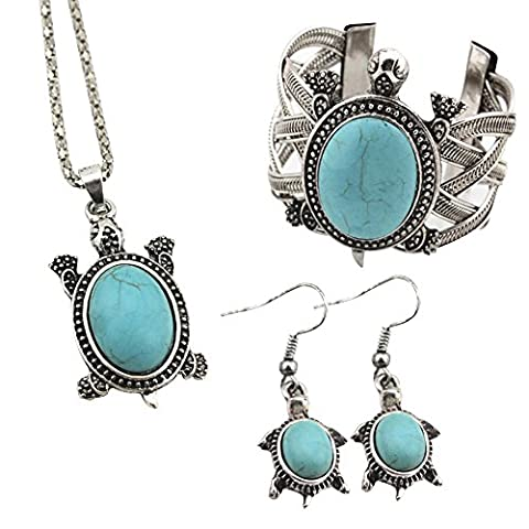 Contever® Attactive Jewellery Vintage Turquoise Necklace Earrings Bracelet Set for Women - Turtle Shaped