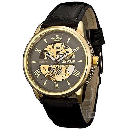 Sewor Herren-Armbanduhr, mechanische Automatikuhr (Black-Gold)