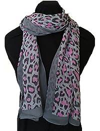 90b0ec5d085e Pamper Yourself Now Gris avec imprimé léopard Rose Mousseline Mince Jolie  écharpe - Grey with Pink