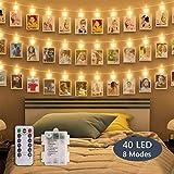 flintronic® LED Photo Clips, 40 PCS 8 Modes Lampe à Cordes Lumière Blanche Chaude, pour Noël, Chambre à Coucher, Fête de Mariage (Batterie AAA non Incluse)...
