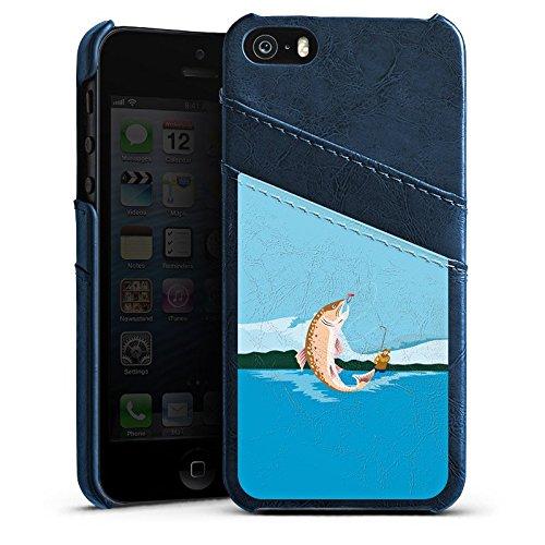 Apple iPhone 4 Housse Étui Silicone Coque Protection Pêche Poissons illustration Étui en cuir bleu marine