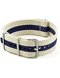 StrapsCo 16mm Beige/Navy Blue 3-Ring Ballistic Nylon Wrap Around Watch Strap
