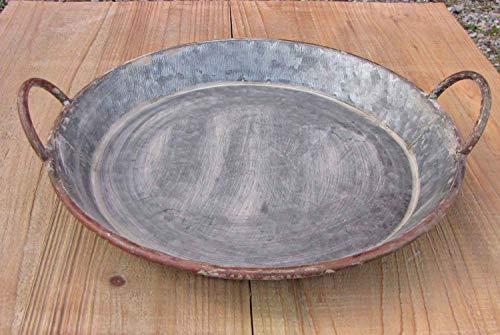 Zinkteller mit Henkel D 47 cm grau Kerzenschale Tablett Deko-Schale Zinktablett