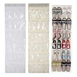 Quemu Co.,Ltd. Schuh-Organizer mit 24 Fächern, zum Aufhängen über der Tür, Stoff, für Schlafzimmer, Babyzimmer, Küche, Büro (150 x 46 cm) beige