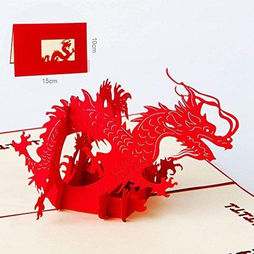 Paper Spiritz 3D Pop Up Karten Grußkarten Glückwunschkarten mit Umschlag – Chinesischer Drache