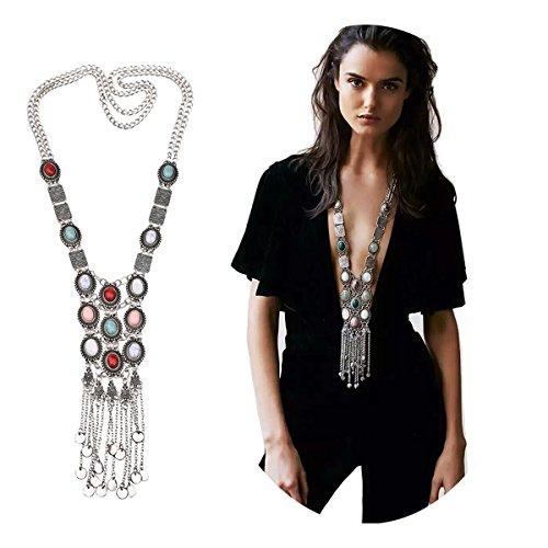Elegant Rose Retro Rhinestone Türkis Halskette böhmische Silber Gold lange ethnische Kette für Frauen