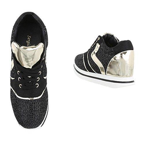 Low-Top Sneaker Damenschuhe Low-Top Keilabsatz/ Wedge Sneakers Schnürsenkel Ital-Design Freizeitschuhe Schwarz Gold