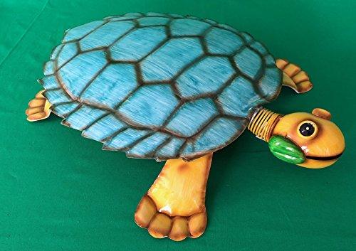 riesige Schildkröte aus Metall, bunt, türkis/orange, Garten Dekofigur