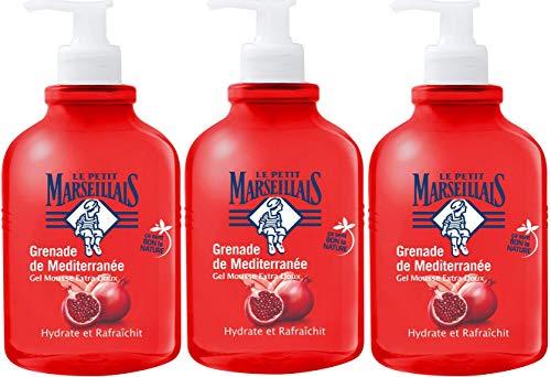 Le Petit Marseillais, gel mousse con dispenser a pompa con melograno mediterraneo extra morbido, 500ml, set di 3