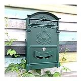 Europäischen klassischen Villa Mailbox Pastoral Retro Wand Briefkasten Wasserdicht Outdoor Mailbox mit Schloss Barock Sun dunkelgrün