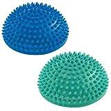 Set da 2 Semisfera riccio Balance »Igel« per migliorare l'equilibrio / la coordinazione. Ideale per l'allenamento della coordinazione, 320 g, circa 8 cm d'altezza e un diametro di 16 cm, blu / turchese