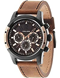 Police Men's Quartz Watch with Brown Dial Chronograph Display and Brown Leather Strap 14528JSBR/12
