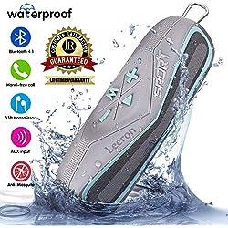 Altavoz Bluetooth Portátil con USB/Audio-In, Leeron Altavoz Inalámbrico Estéreo Subwoofer Impermeable, Soporte Tarjeta TF/SD, Llamadas Manos Libres para iPhone iPad Samsung (Azul)