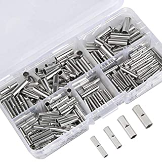 QLOUNI 200PCS Non-Insulated Butt Connectors BN Uninsulated Tube Connector Wire Ferrule Cable Crimp Terminal Kit 22-16AWG 16-14AWG 14-12AWG 12-10AWG for Electrical Splice DIY