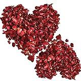 200 Grammes Pétales de Roses Rouges Séchées Pétales de Rose Pétales de Fleurs de Rose Pétales de Table Confetti pour Bain de Pieds Mariage Table de Confettis Décorations Artisanales Bricolage, 1 Sac