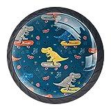 Juego de 4 pomos y tirador para monopatín, diseño de dinosaurio, color azul