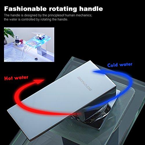 Auralum® Armatur LED RGB Glass Wasserhahn Waschtischarmatur für Bad/Badezimmer/Küchen - 3