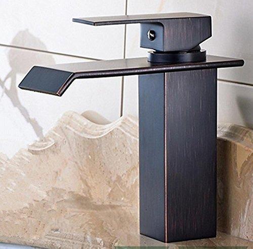 Preisvergleich Produktbild XMJ Kupfer quadratischen Spray schwarz Bronze heiß und kalt Wasserfall Badezimmer Waschbecken Wasserhahn