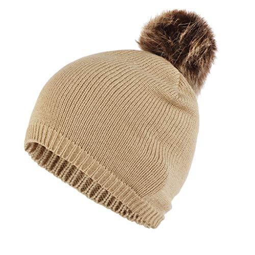 r Strickmütze Fein Strick Winter Mütze mit Fellbommel ()