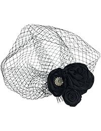 09f57913bf50db Gazechimp Elégant Fleur Voile de Visage en Ruban Tissu et Strass Accessoire  de Cheveux pour Mariée
