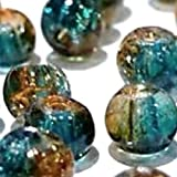 k2-accessories 100 pieces 8mm Crackle Glass Beads - Turquoise & Brown - A1824-A