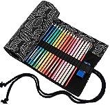 amoyie Sacchetto della matita tela rotolo astuccio per 36 matite colorate (no inclusa matite) - foglia nera