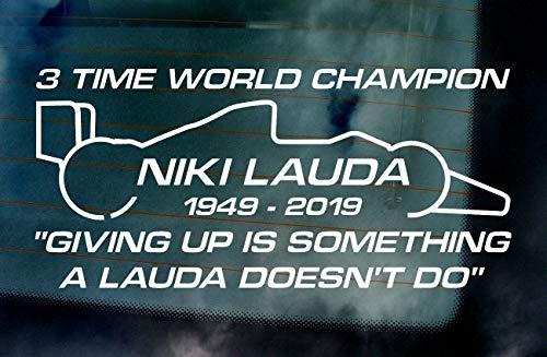 Niki Lauda RIP Memorial Fan Tribute Car Van Window Windscreen Bumper Vinyl Die Cut Stickers Decals Graphics ref:2 Lime Green 500mm x 232mm