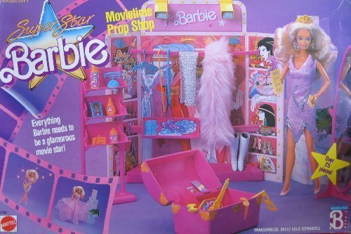 Super Star Barbie Movietime Prop Shop Playset w Over 25 Pieces (1988 Hawthorne) by Barbie